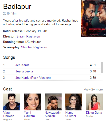 badlapur movie star cast,director,release date and songs