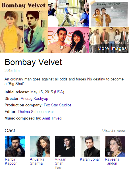movie bombay velvet star cast