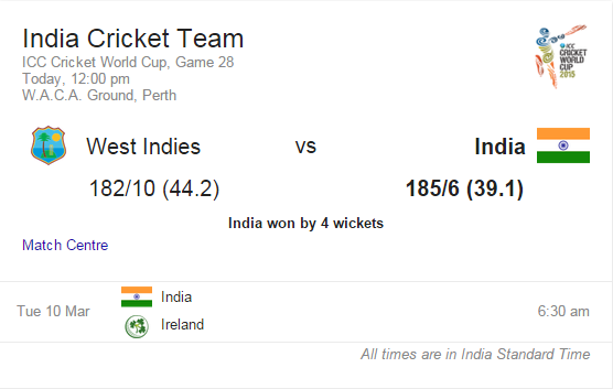 india vs west indies score card