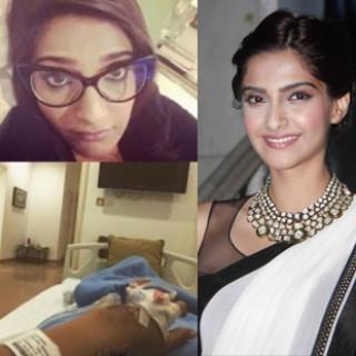 sonam kapoor on bed in hospital suffring swin flue