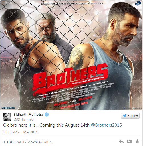 Superstar Akshay Kumar tweets first poster of his film 'Brothers' with Sidharth Malhotra