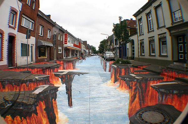 3d street burn art painting