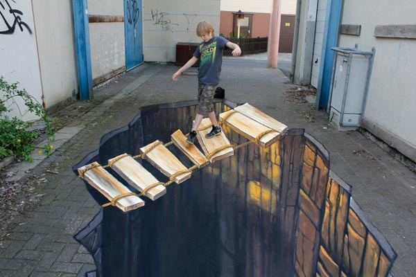 bridge in 3 d street art